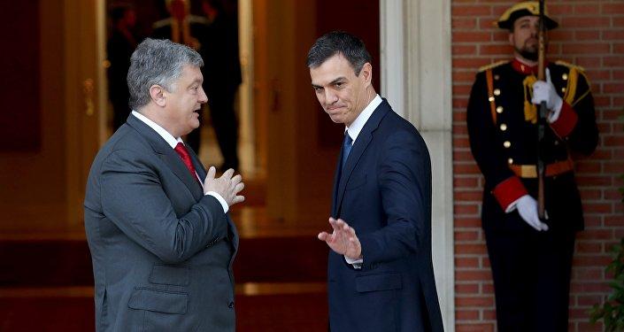 Reunión entre presidente de Ucrania, Petró Poroshenko, y el nuevo presidente del Gobierno español, Pedro Sánchez