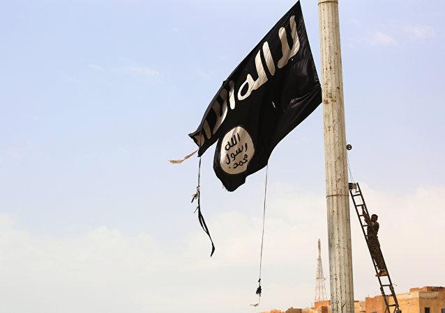 La bandera de Daesh en Siria (archivo)