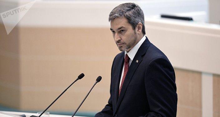 Mario Abdo Benítez, presidente del Congreso de Uruguay durante su visita a Moscú