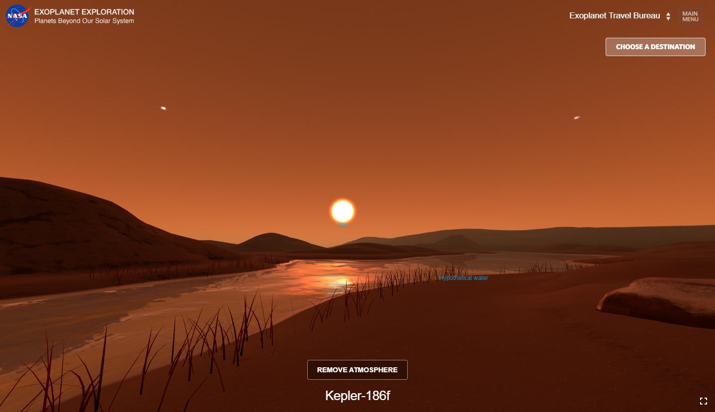 Una visión artística de la superficie del exoplaneta Kepler-186f