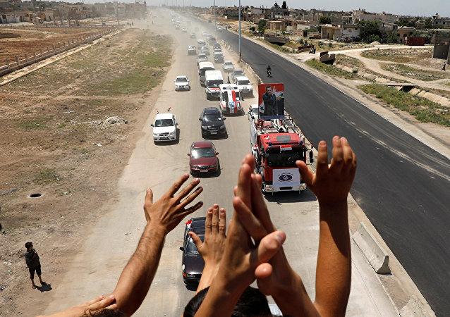 La carretera Homs-Hama en Siria