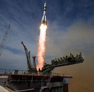 Lanzamiento del cohete Soyuz en el cosmódromo Baikonur (archivo)
