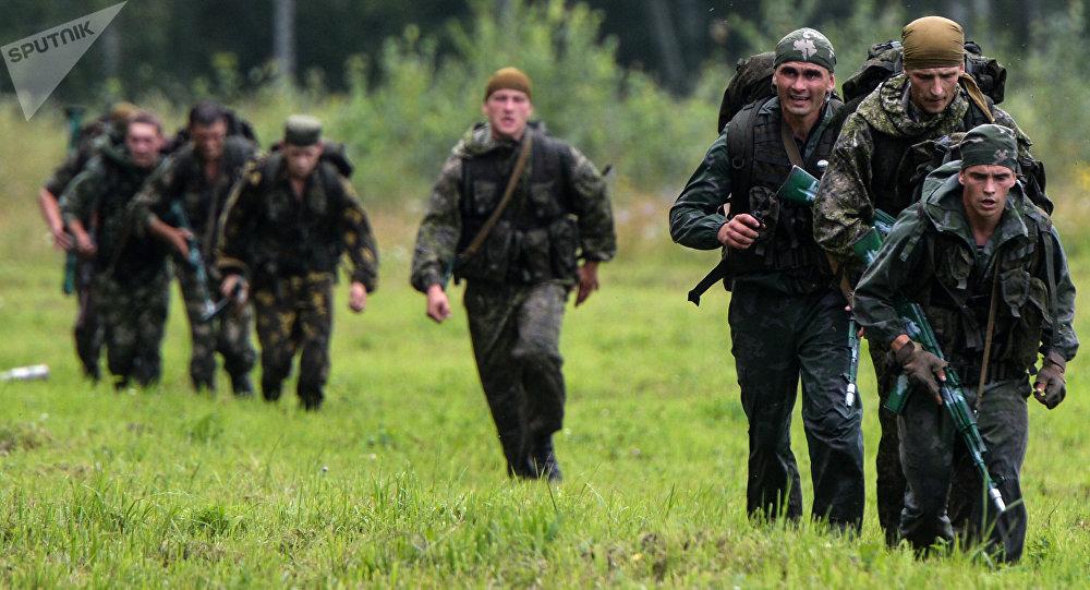 Militares rusos, foto de archivo