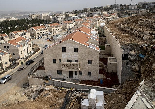 La construcción de un asentamiento israelí en Cisjordania