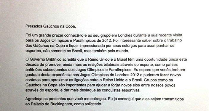 Carta que el Gobierno británico envió en agradecimiento al grupo Gaúchos na Copa por su participación en Londres 2012 y por los regalos enviados a la reina Isabel II