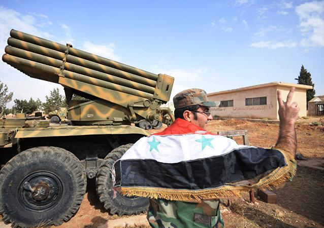 El Ejército gubernamental de Siria cerca de la ciudad de Qatana en la provincia de Damasco