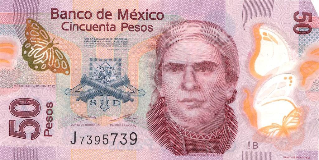 Anverso de billete de 50 pesos mexicanos de 2012