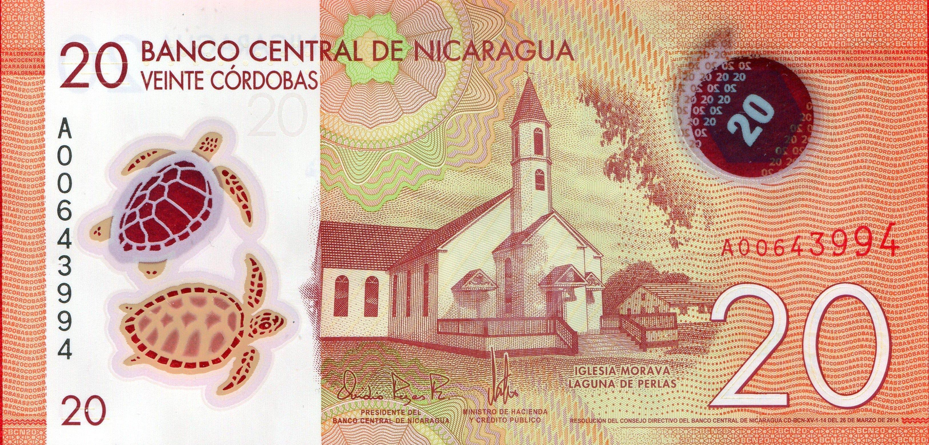 Billete de 20 córdobas nicaragüenses