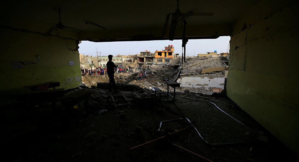 La zona afectada por la explosión en Bagdad, Irak