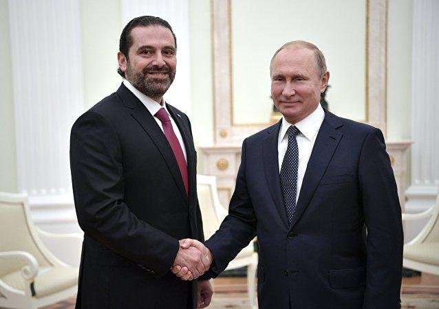 El primer ministro de Líbano, Saad Hariri y el presidente de Rusia, Vladímir Putin