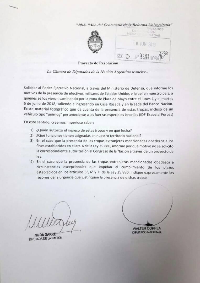 Proyecto de resolución de la Cámara de Diputados de la Nación Argentina