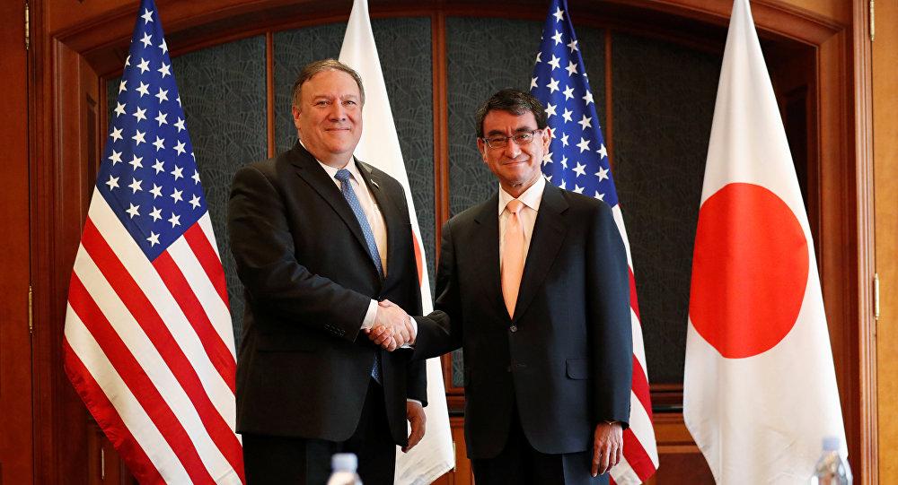 El secretario de Estado de EEUU, Mike Pompeo, y el ministro de Exteriores de Japón, Taro Kono