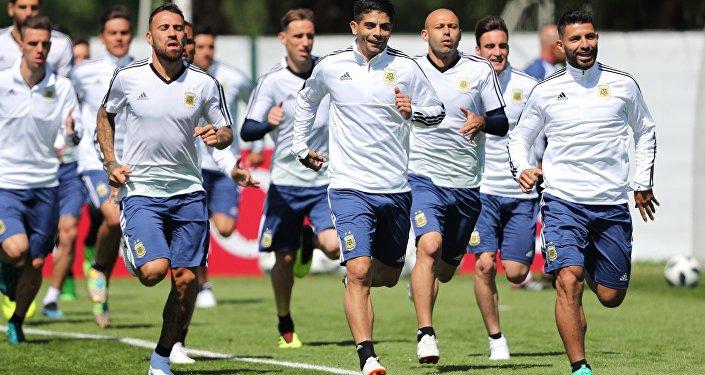 La selección argentina durante el entrenamiento
