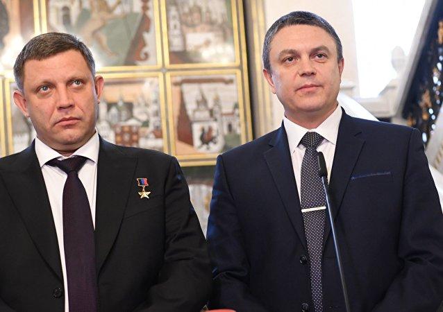 Líder de la autoproclamada República Popular de Donetsk, Alexandr Zajárchenko, y jefe en funciones de la autoproclamada República Popular de Lugansk, Leonid Pásechnik