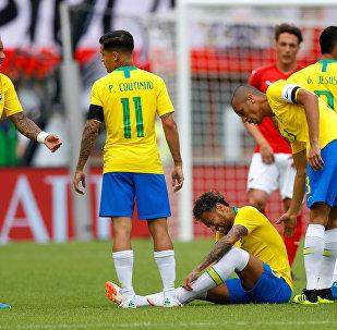 Unos miembros de la selección brasileña de fútbol