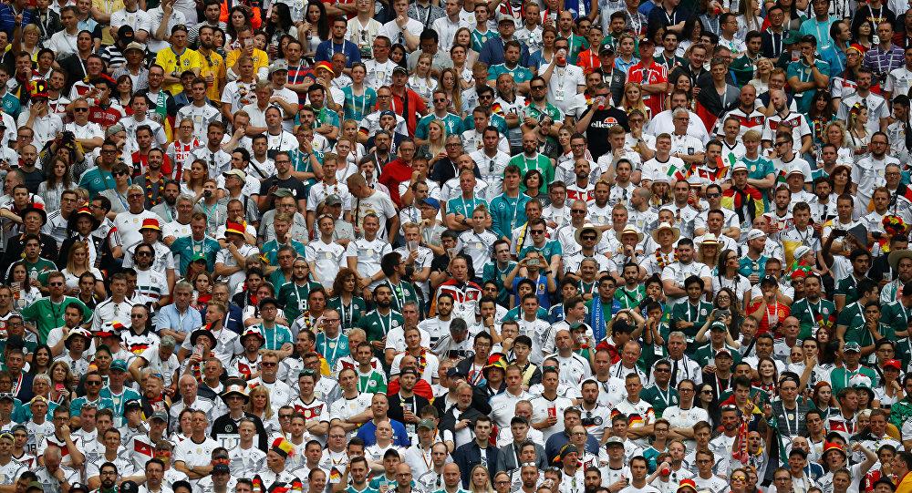 Los aficionados mexicanos en el estadio Luzhnikí durante el partido con Alemania