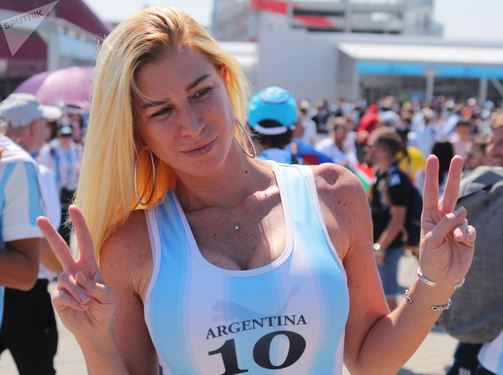A fan of the Argentine national team before the start of a group stage match between Argentina and Iceland.