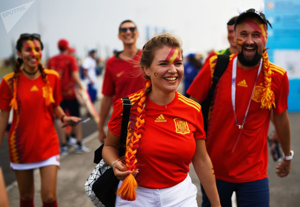 Fans of the Spanish national team before a World Cup stage match between Portugal and Spain.