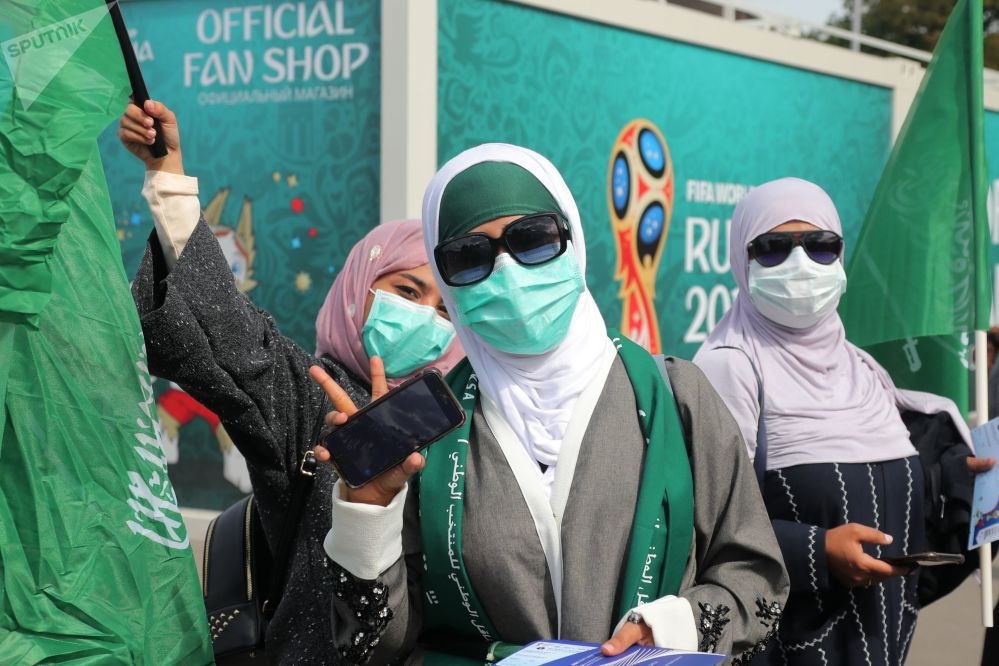 Saudi female fans of ahead of a World Cup stage match between Russia and Saudi Arabia.