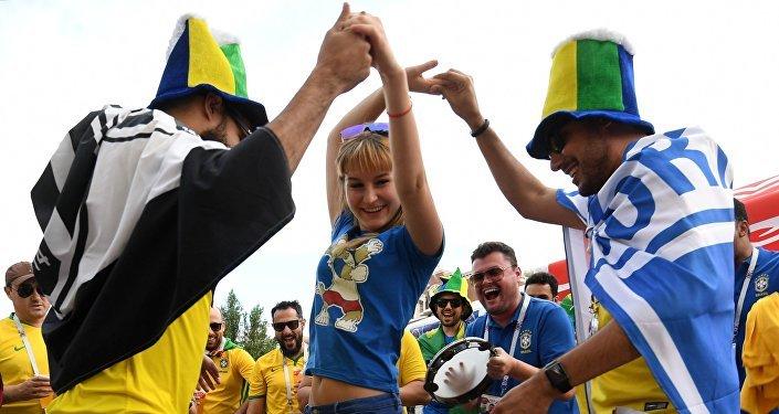 Hinchas brasileños en Rostov