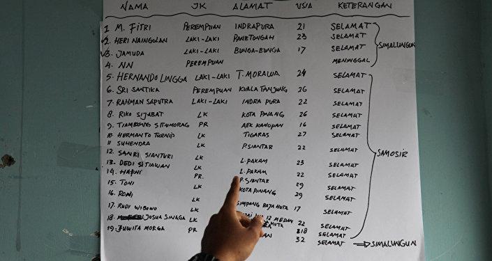 La lista de los sobrevivientes del naufragio en Indonesia