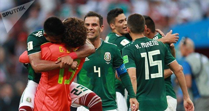 Los jugadores de la selección mexicana tras la victoria ante Alemania