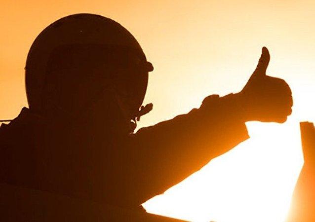 Piloto de las Fuerzas Aeroespaciales de Rusia durante la operación contra el EI en Siria