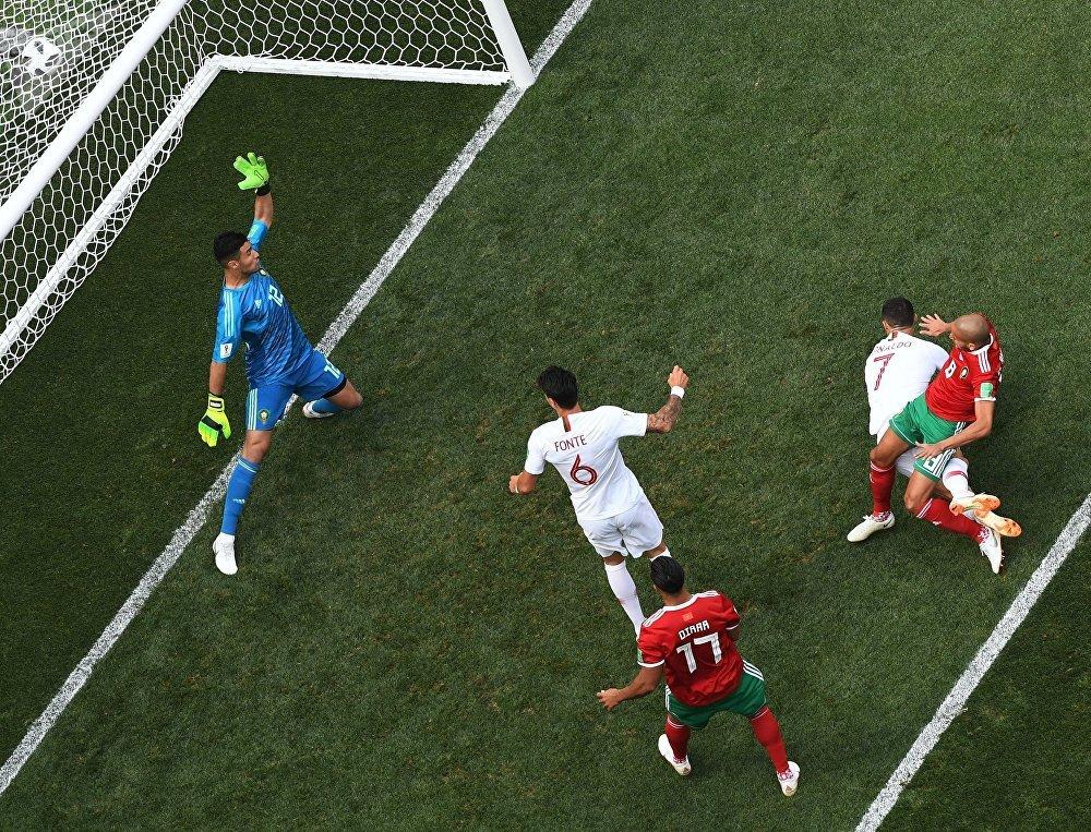 El primer gol de Portugal en el partido contra Marruecos por la fase de grupos del Mundial de Rusia