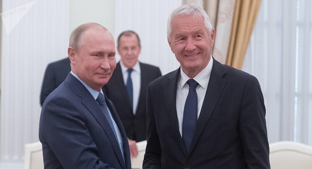 El presidente de Rusia, Vladímir Putin, y el secretario general del Consejo de Europa, Thorbjorn Jagland
