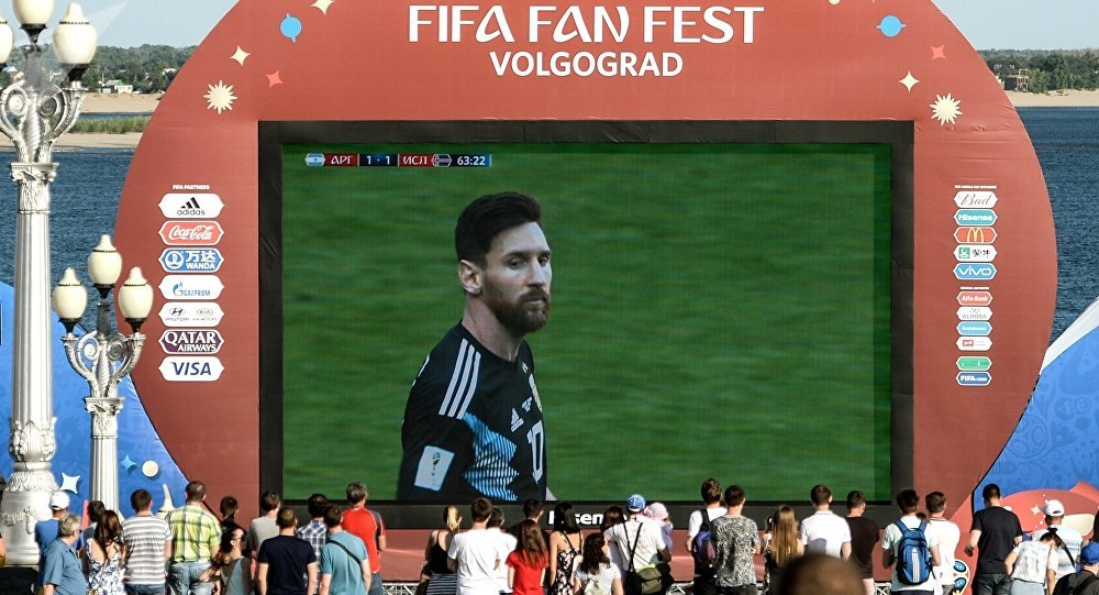 Lionel Messi, futbolista aregentino, en una pantalla durante el Fan Fest
