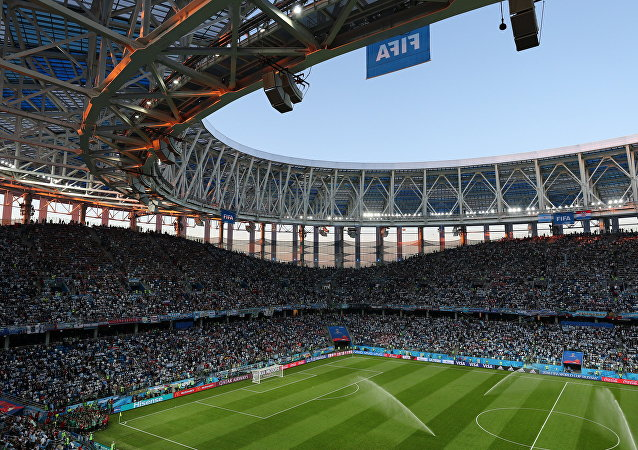 El Estadio de Nizhni Nóvgorod momentos antes del partido entre Argentina y Croacia