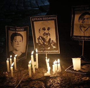 Retratos de los periodistas asesinados en Ecuador