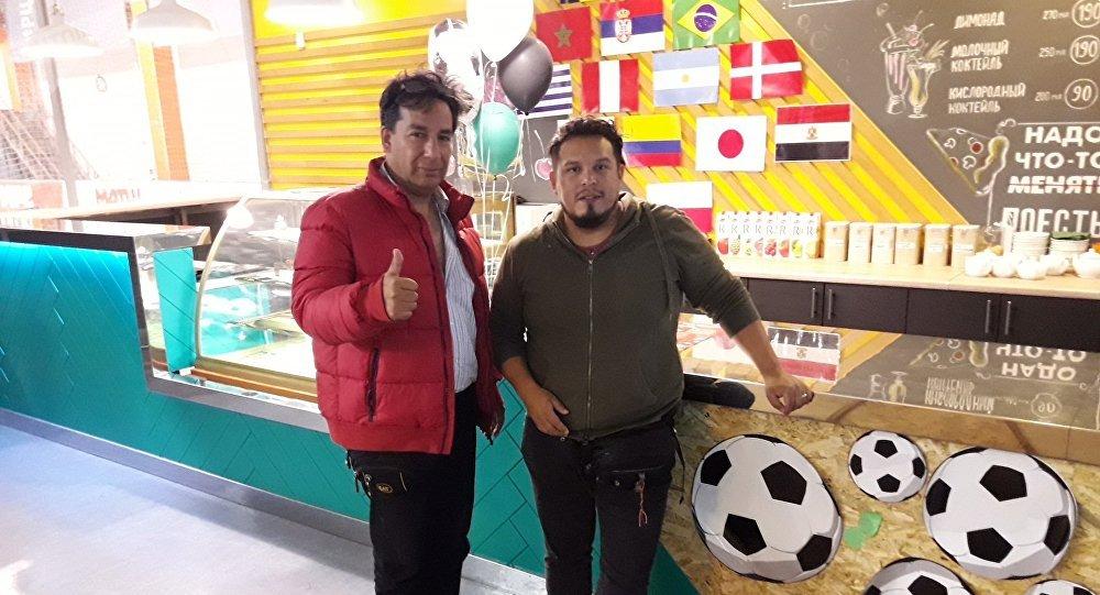 Los cineastas peruanos Antonio Landeo Vega y Víctor Hugo Salarrayan Rengifo