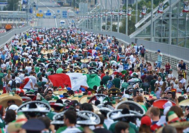 Hinchas mexicanos en Rostov del Don