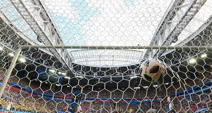 Un gol durante el partido Brasil - Costa Rica en el Mundial en Rusia