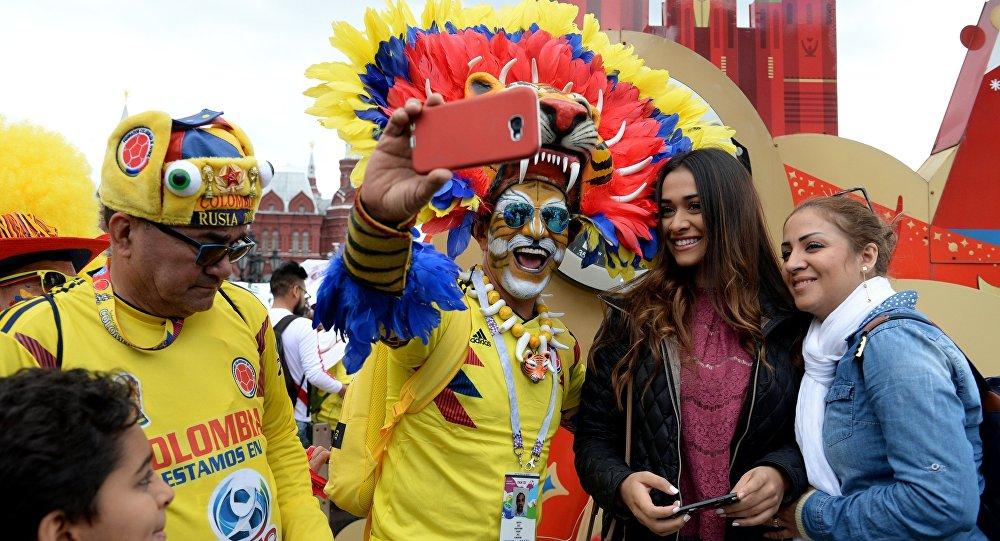 Hinchas colombianos en Moscú