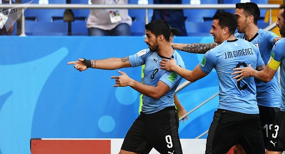 Jugadores de la selección uruguaya