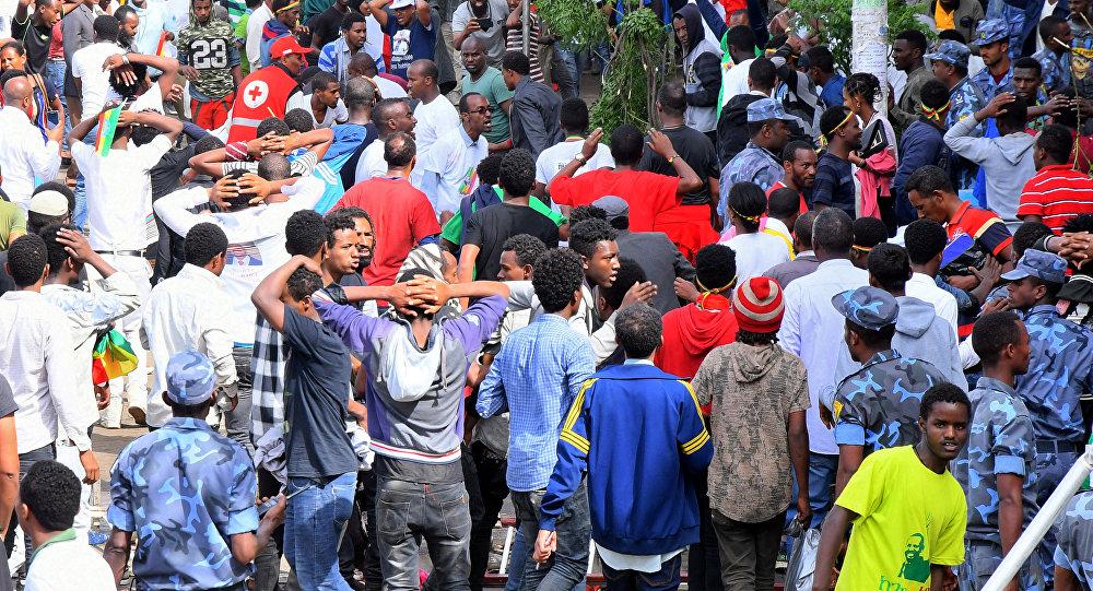 El lugar de la explosión en Adís Abeba, Etiopía