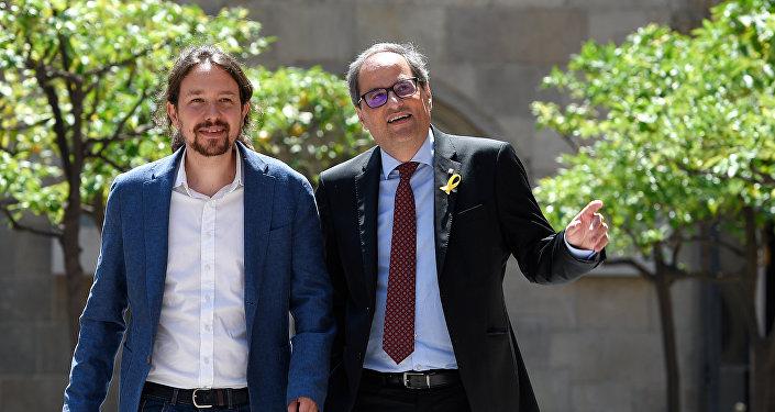 El líder del partido español Podemos, Pablo Iglesias, y el presidente de la Generalitat de Cataluña Quim Torra