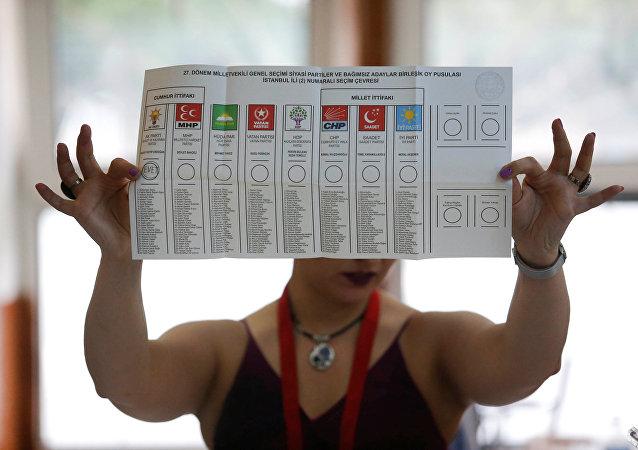 Boletín electoral de las elecciones en Turquía