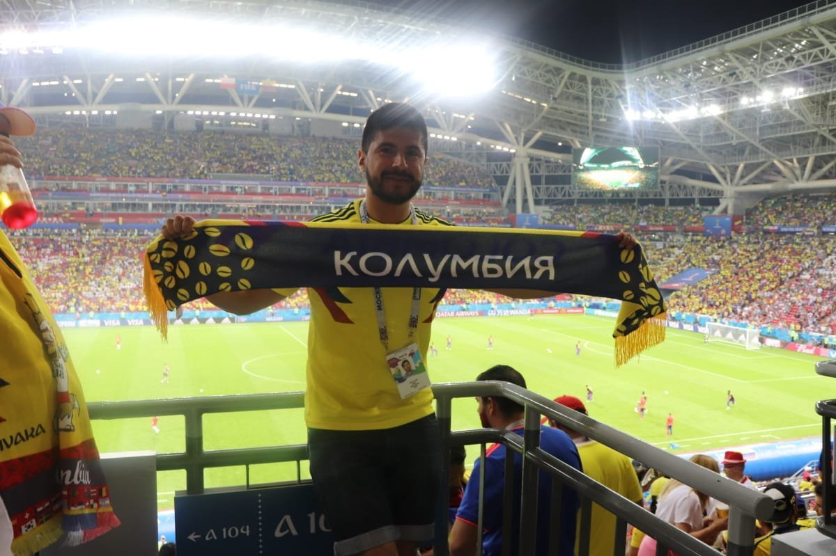 El Kazán Arena con los colores de la selección colombiana