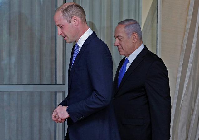 El príncipe Guillermo de Inglaterra y el primer ministro israelí, Benjamín Netanyahu