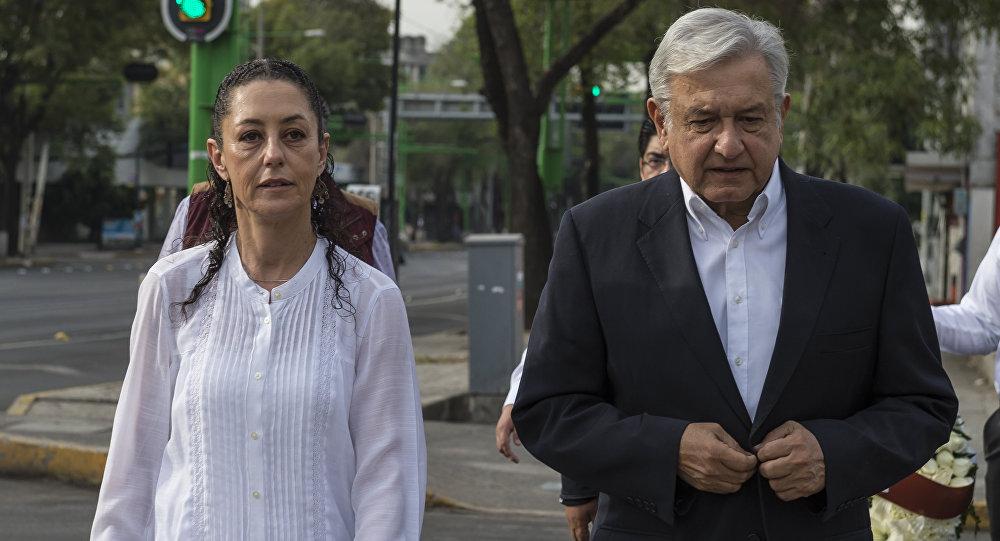 Claudia Sheinbaum y Andrés Manuel López Obrador, candidato a la presidencia de México