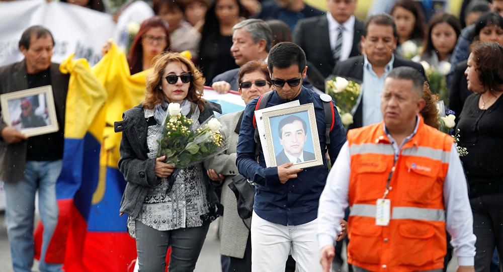 Recibimiento en Ecuador de los restos de los periodistas asesinados en Colombia (archivo)