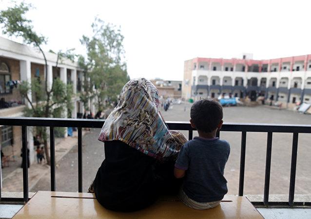 Niños desplazados en Yemen