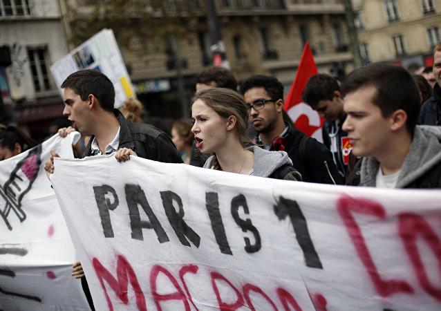 Protestas contra reformas de Macron (archivo)