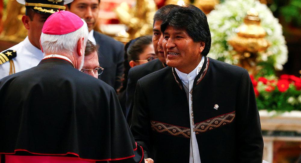 El presidente de Bolivia, Evo Morales, en Vaticano