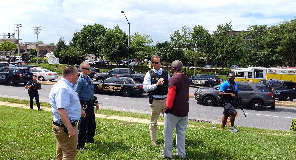 Lugar del tiroteo en Annapolis, EEUU