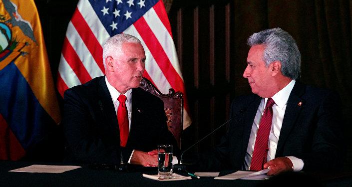 El vicepresidente de EEUU, Mike Pence y el presidente de Ecuador, Lenín Moreno