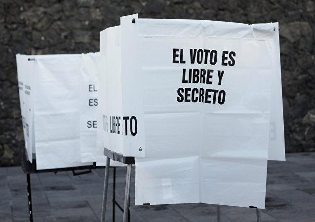 Una cabina de votación en Ciudad de México